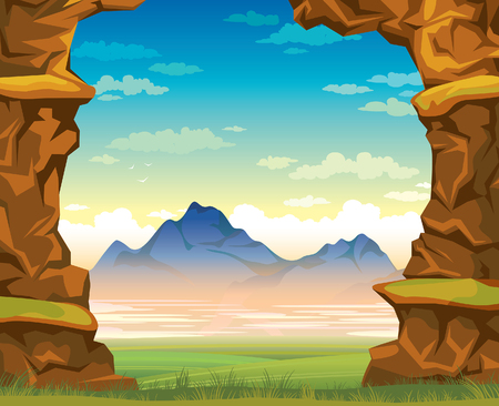 Summer landscape - wall of rock with green grass and mountains on a blue cloudy sky. Nature illustration.