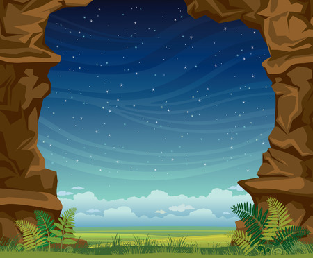 landscape nature: Nature landscape - grass with green fern and wall of rock on a night starry sky. Summer illustration.