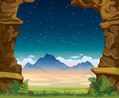 rock wall: Summer nature illustration. Night landscape with green grass, fern, mountains and wall of rock on a starry sky.
