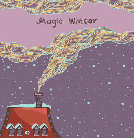 red sky: Cartoon winter illustration - Red roof of house and magic smoke on a night sky.