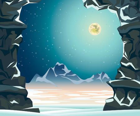 montañas nevadas: paisaje nocturno con luna llena, montañas, nieve acumulada y la pared de roca. Ilustración del invierno.