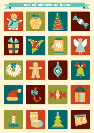 cartoon calendar: set of Christmas and new year icons.