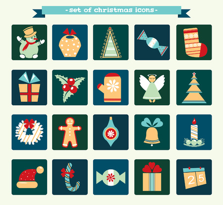 dec  25: Collection of cartoon christmas and new year icons. Winter illustration.