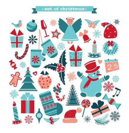 christmas element: Set of Christmas element - cartoon new year illustration. Illustration