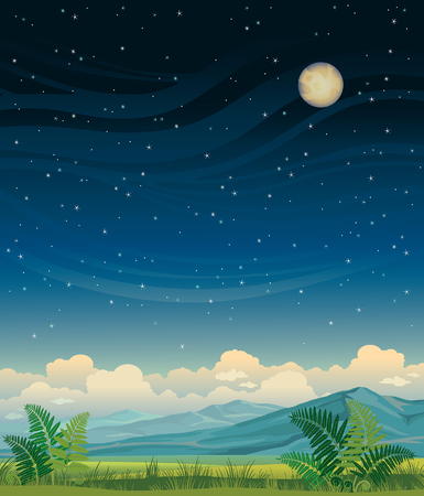 horizons: Summer night landscape - green meadow and blue mountains on a starry sky. nature illustration.