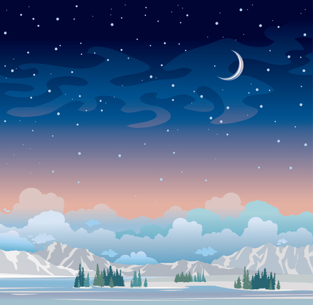 winter night: Winter night landscape. Blue starry sky with moon and green forest with mountains. Nature illustration.