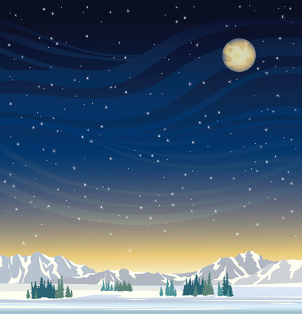 skies: Night winter landscape - yellow full moon on a starry sky and frozen mountains with trees.