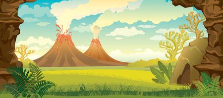 nubes caricatura: Paisaje prehistórico - volcanes con humo, hierba verde, cueva y paredes de roca. ilustración naturaleza.