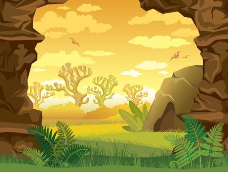 dinosaur: Ilustraci�n prehist�rico con la hierba verde, cueva y paredes de roca en un cielo nublado amarillo. Paisaje de la naturaleza.