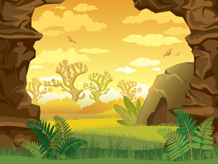 Prehistoric illustration with green grass, cave and walls of rock on a yellow cloudy sky. Nature landscape. Illustration