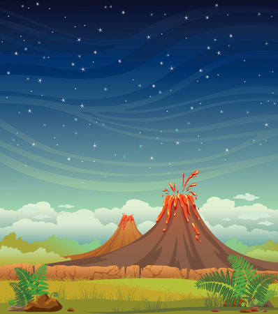 Summer night illustration. Prehistoric landscape with volcanoes and green grass on a starry sky.
