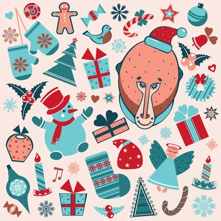 christmas element: Cartoon set of christmas element. illustration of monkey new year.