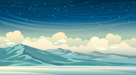 dark cloud: Winter illustration. Night landscape - blue mountains on a starry sky with clouds.