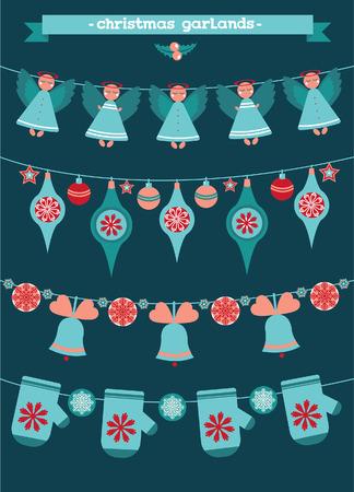 pelota caricatura: Cartoon collection of christmas garlands. of new year illustration.