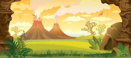paisajes: Paisaje prehistórico - volcanes con humo, hierba verde, cueva y paredes de roca. ilustración naturaleza.