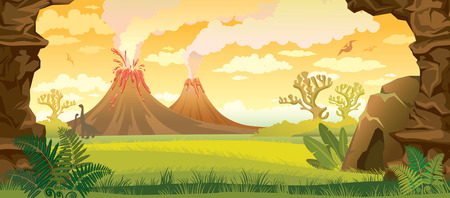 Prehistoric landscape - volcanoes with smoke, green grass, cave and walls of rock. nature illustration.