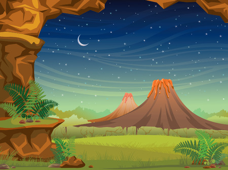 Prehistoric illustration with volcanoes, green grass and wall of rock on a starry sky with moon. Nature night landscape. Illustration