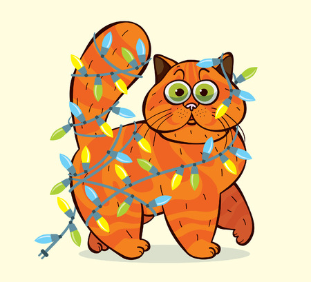 domestic cat: Cartoon domestic fluffy cat caught in cristmas garlands. Funny vector holiday illustration.