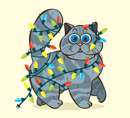 fearful: Funny domestic fluffy cat caught in cristmas garlands. Cartoon vector holiday illustration.