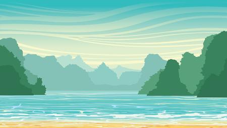 coast: Vector landscape with limestone rocks in the sea bay. Nature tropical illustration. Illustration