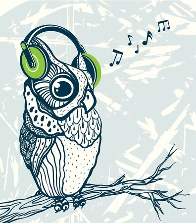 Graphic owl with green headphones listening music on a branch. Vector cartoon illustration. Illustration