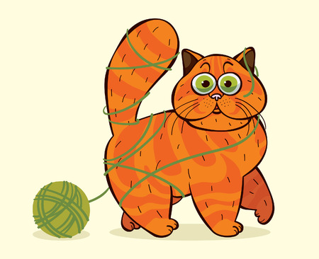 Funny cartoon domestic cat caught in a tangle of yarn. Vector comic ilustration.