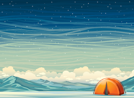 tent vector: Winter night landscape - lonely orange travel tent and frozen mountains on a starry sky background. Nature vector illustration. Extreme camping.