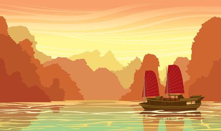 Sunset landscape vector: cảnh quan nhiệt đới với những khối đá vôi và thuyền buồm truyền thống cũ trong vịnh biển trên một bầu trời hoàng hôn. Nature vector đi minh họa. Hình minh hoạ
