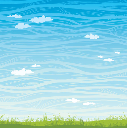 summer sky: Summer landscape - green grass and blue graphic sky with clouds. Nature vector illustration. Illustration