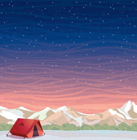 tent vector: Extreme camping - red travel tent and snowy mountains on a night starry sky background. Winter landscape. Vector natural illustration. Illustration