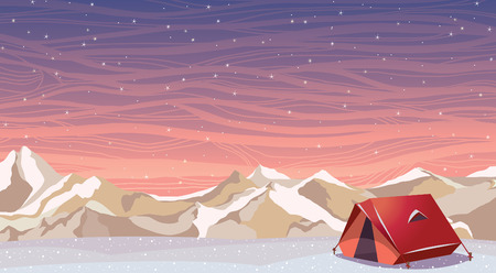 snowy mountains: Winter night landscape with snowy travel tent and frozen mountains on a starry sky. Extreme camping. Nature vector illustration.