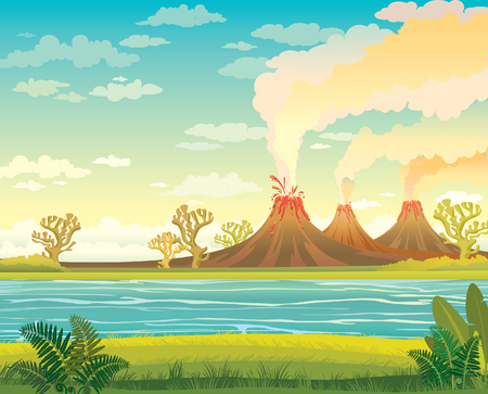 mountain cartoon: Prehistoric landscape - smoking volcanoes, lake and green grass with fern on a cloudy sky. Vector nature illustration.