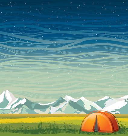 montañas nevadas: paisaje nocturno de verano con tienda naranja viaje, hierba verde y montañas cubiertas de nieve en un cielo estrellado azul. campamento de verano ilustración vectorial. Vectores