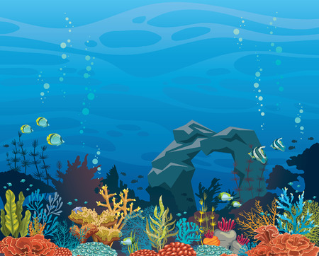 Colorful coral reef with fish and stone arch on a blue sea background. Undrewater tropical vector illustration. Natural seascape. Vettoriali
