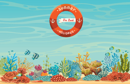 The best summer holiday. Tropical coral reef with fish on a blue sea background. Underwater vector illustration.