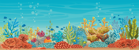 Cartoon colorful coral reef with fish on a blue sea background. Vector natural underwater seascape.