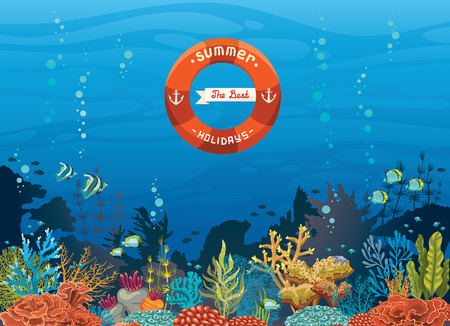 Colorful coral reef with fish on a blue sea background - The best summer holiday. Underwater tropical vector illustration.
