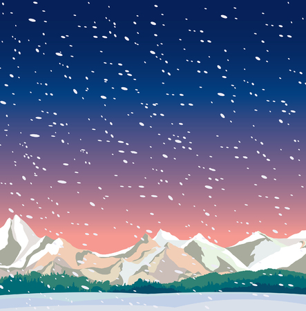 blizzard: Winter night landscape with frozen mountains and snowfall. Nature vector illustration.