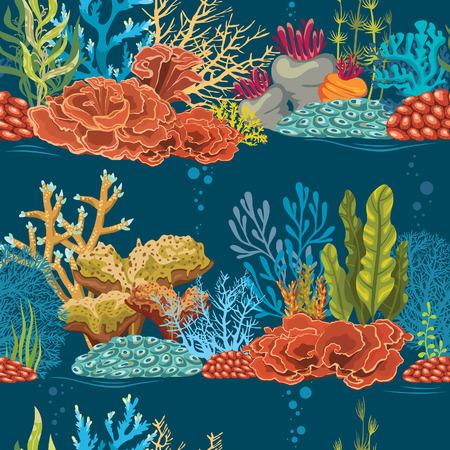 青色の背景にカラフルなサンゴ礁とベクトルの壁紙。水中のシームレスなパターン。  イラスト・ベクター素材
