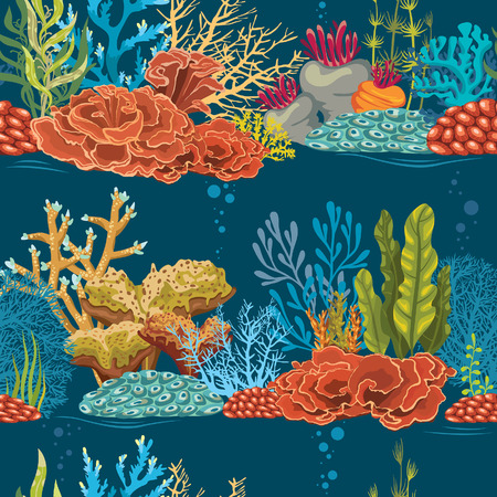 Vector wallpaper with colorful coral reef on a blue background. Underwater seamless pattern. Vettoriali