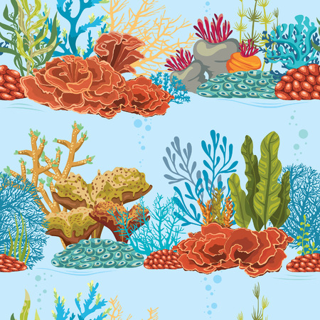 Seamless underwater pattern with coral reef and algaes. Natural vector colorful wallpaper.