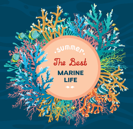 corales marinos: ilustraci�n vectorial bajo el agua - colorido arrecife de coral con peces sobre un fondo azul del mar. La mejor vida marina tropical. Vectores