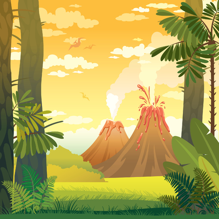 volcano mountain erupting: Natural prehistoric vector illustration. Wild landscape with volcano, trees and fern.