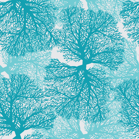 Underwater seamless pattern with blue coral reef.