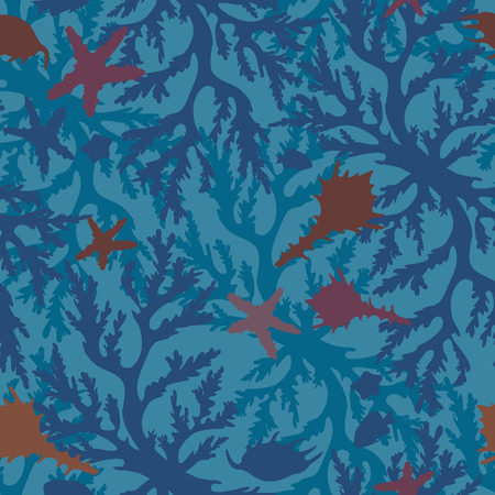 reef: Underwater seamless pattern with coral reef, seashells and starfish on a blue background.