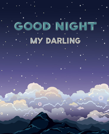 cartoon mountain: Greeting vector card with text - good night my darling. Nature landscape with clouds, stars and mountain on a dark sky background. Night time. Illustration
