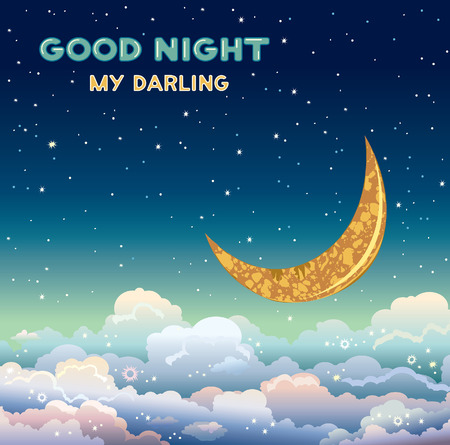 good nature: Nature vector illustration with yellow moon and clouds on a night starry sky. Greeting card - doog night my darling.