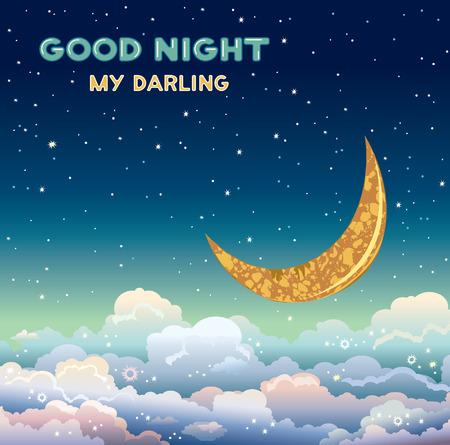 Nature vector illustratie met gele maan en wolken op een nachtelijke sterrenhemel. Wenskaart - doog nacht my darling.