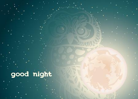 noche y luna: cielo estrellado de la noche con la luna llena y la silueta del búho. Tarjeta de felicitación del vector - buena noche. Vectores