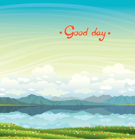 summer sky: Summer landscape with calm lake, mountains and green grass on a blue sky. Natural vector illustration.